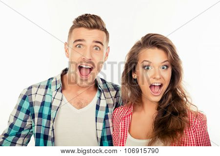 Cute Funny Cheerful Couple  Showing Surprise