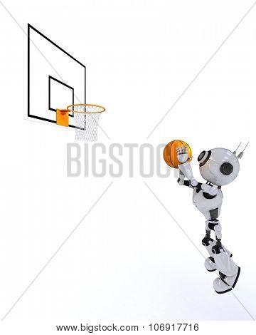 3D Render of a Robot Basketball player