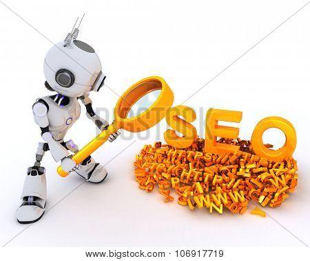 3D Render of a Robot search engine optimisation