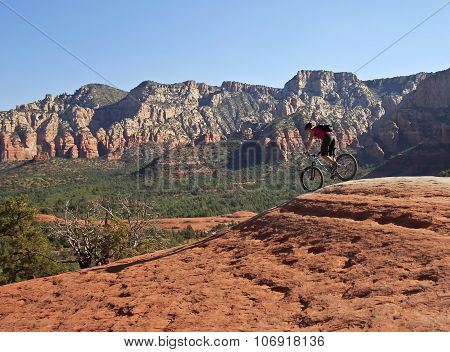A Sedona Mountain Biker On Broken Arrow Trail