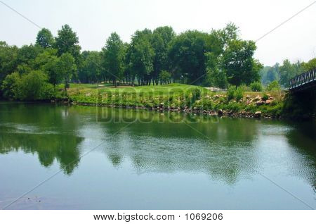 Golf Course Hole Over River