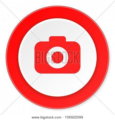 photo camera red circle 3d modern design flat icon on white background