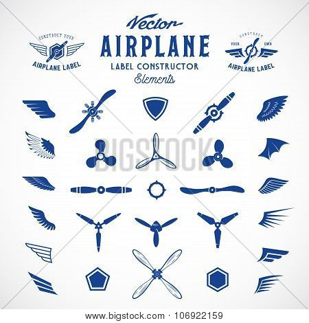 Abstract Vector Airplane Labels or Logos Construction Elements. Isolated