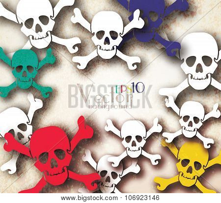 Halloween vector card or background with skulls. Vector illustration.