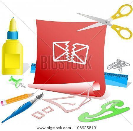 defective mail. Paper template. Raster illustration.