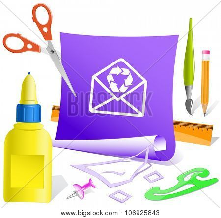 open mail with recycle symbol. Paper template. Raster illustration.