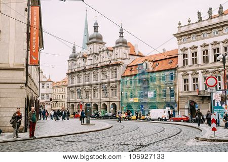 View of street Malostranske namesti in Prague, Czech Republic.
