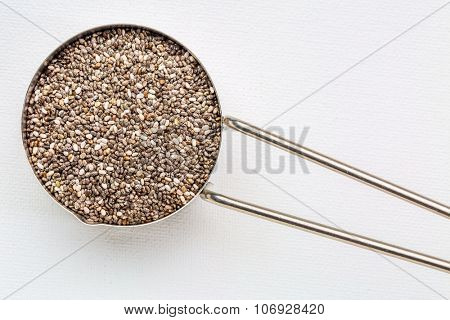 chia seeds in metal measuring coop against white art canvas