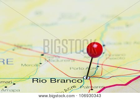 Rio Branco pinned on a map of Brazil