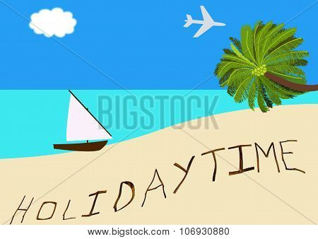 Holiday Time By A Tropical Beach