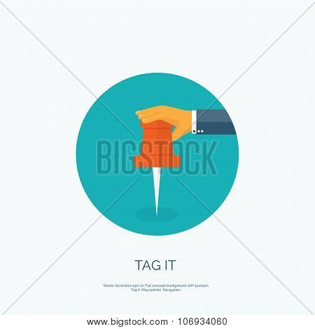 Vector illustration. Flat background with hand and pin. Remeber it. Location.