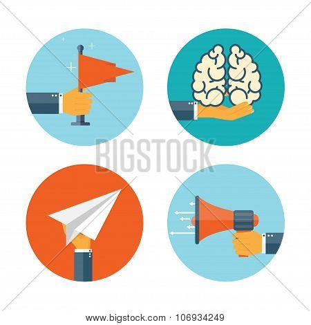 Flat loudspeaker icon. Administrative management concept. Business aims and solutions. Teamwork and brainstorm. poster