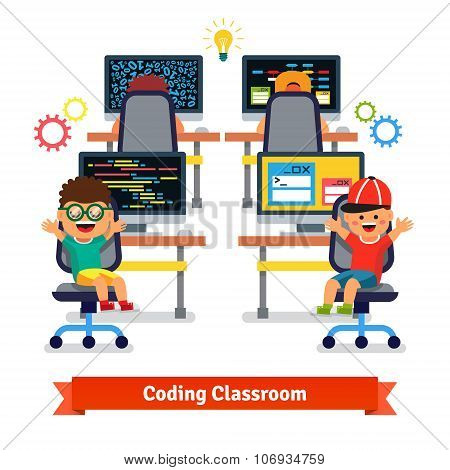Kids learning to code and program in science class