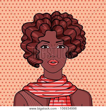 Vintage African American Woman With Brown Afro Hair And Red Striped Scarf Pop Art Comic Illustration