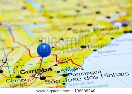 Curitiba pinned on a map of Brazil