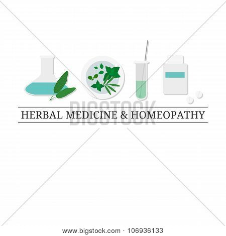 Logo design template with flat medical items.