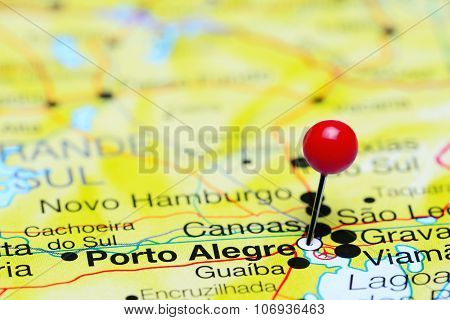 Porto Alegre pinned on a map of Brazil