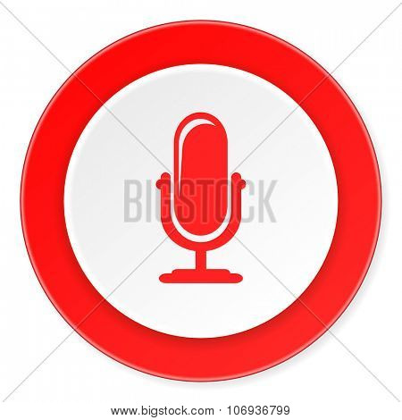 microphone red circle 3d modern design flat icon on white background