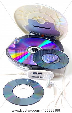 Portable CD audio player isolated on white closeup poster