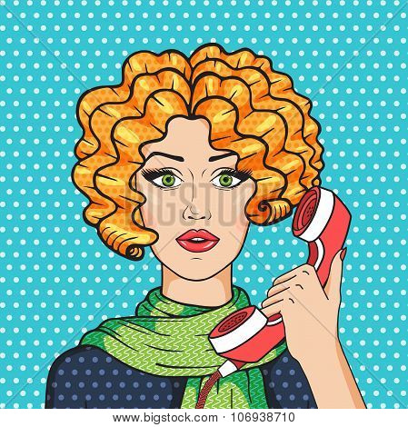 Cute redhead woman talking on the phone pop art comic style vector illustration vintage redhead girl in green scarf. poster