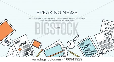 Vector illustration. Flat backgrounds set. Online news. Newsletter and information. Business and mar