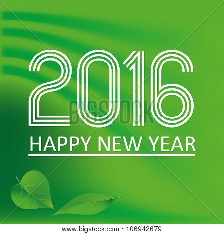 Happy New Year 2016 On Green Wave Color Background Eps10