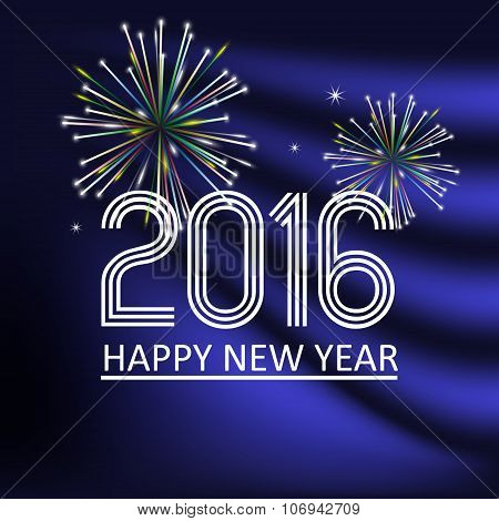 Happy New Year 2016 On Dark Blue Wave Color Background Eps10