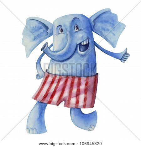 Cheerful Elephant In Striped Pants
