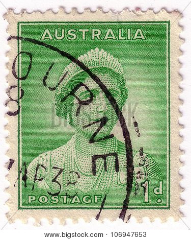 Australia - Circa 1937: A Stamp Printed In Australia Shows Queen Elizabeth Ii, Circa 1937