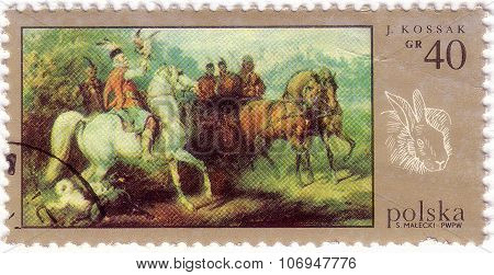 Poland - Circa 1970: A Stamp Printed In Poland, Shows Picture Of Polish Painter Juliusz Kossak