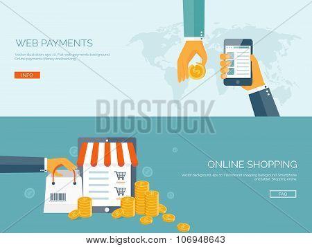 Vector illustration. Flat backgrounds set. Internet shopping. Web store. Global communication and tr