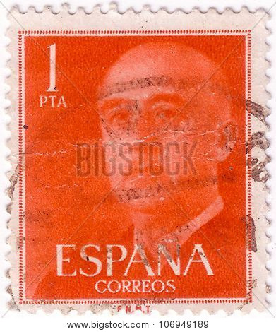 Spain - Circa 1955: Postage Stamp Printed In Spain With Portrait Image General Francisco Franco.