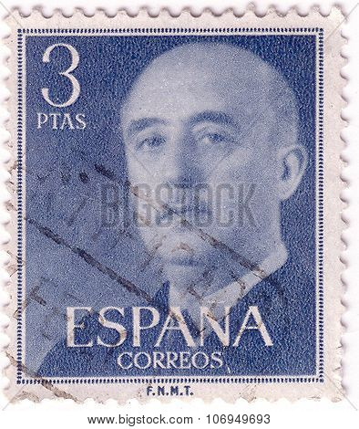 Spain - Circa 1955: A Stamp Printed In Spain Shows Francisco Franco, Circa 1955