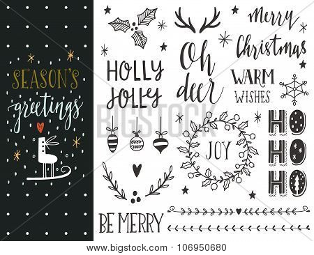 Season's greetings. Hand drawn Christmas holiday collection with lettering and decoration elements f
