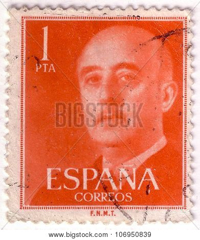 Spain - Circa 1955: Orange Color Postage Stamp Printed In Spain With Portrait Image General Francisc