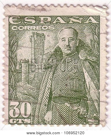 Spain - Circa 1948: A Stamp Printed In Spain Shows General Franco And Castillo De La Mota, Circa 194