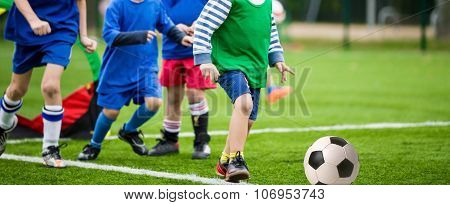 kids playing football soccer match