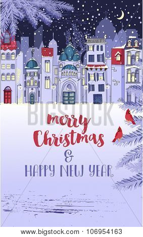 Snowed-In Winter City Christmas and New Year Greeting - Winter holidays poster with urban scene, snowed-in city street. Hand drawn whimsical style illustration