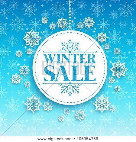 Winter Sale Text in White Space with Snow Flakes Hanging