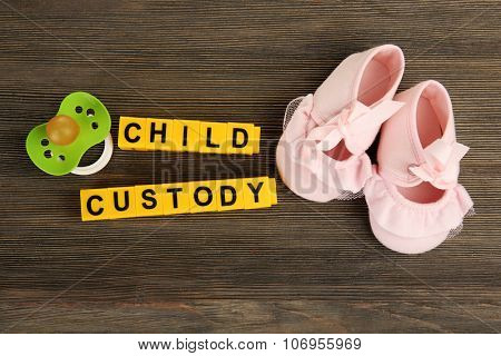 Baby's booties, dummy and blocks regarding child-custody and family-law concept