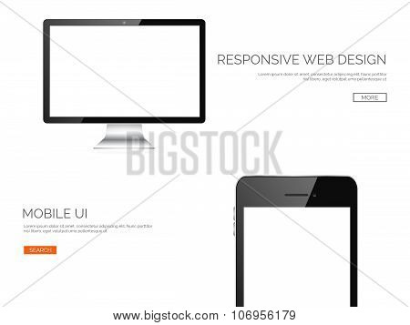 Vector illustration. Realisticmonitor and smartphone. Adaptive ui. Responcive web design.