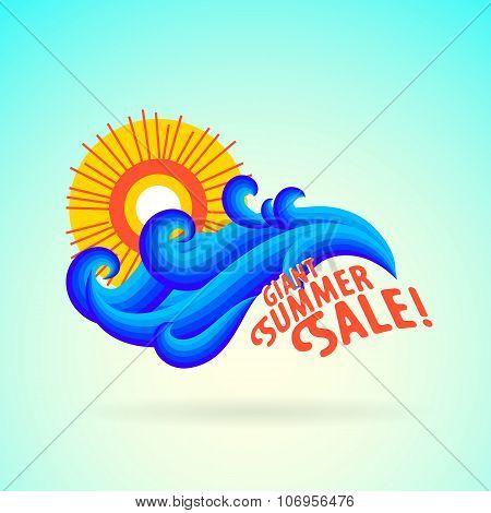 Sun wave ocean illlustration