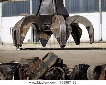 Peel grab for scrap metal,  industrial machine poster