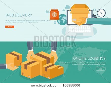 Vector illustration. Flat header. International delivery and worldwide postage. Online logistics and