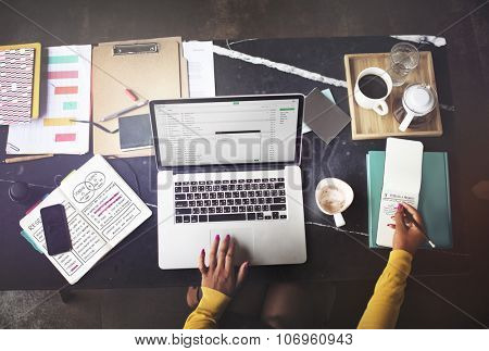 Businesswoman Working Email Writing Workplace Concept