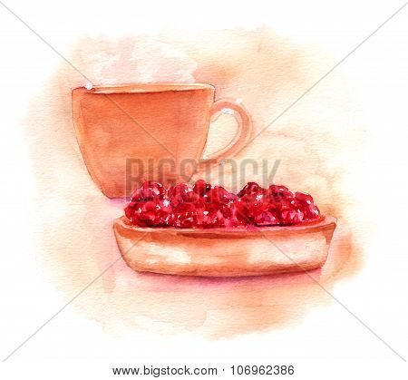 Watercolor Coffee (or Tea) Cup And Strawberry Tart Drawing