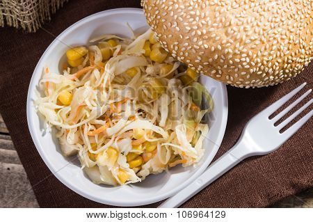Vegetable Salad And White Bun