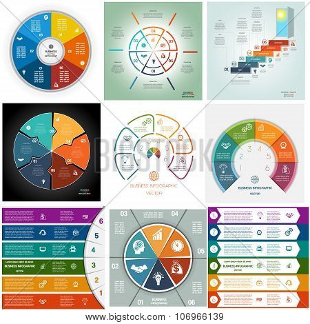 Set 9 Templates Infographics Cyclic Processes Six Positions