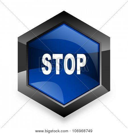 stop blue hexagon 3d modern design icon on white background