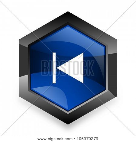 prev blue hexagon 3d modern design icon on white background